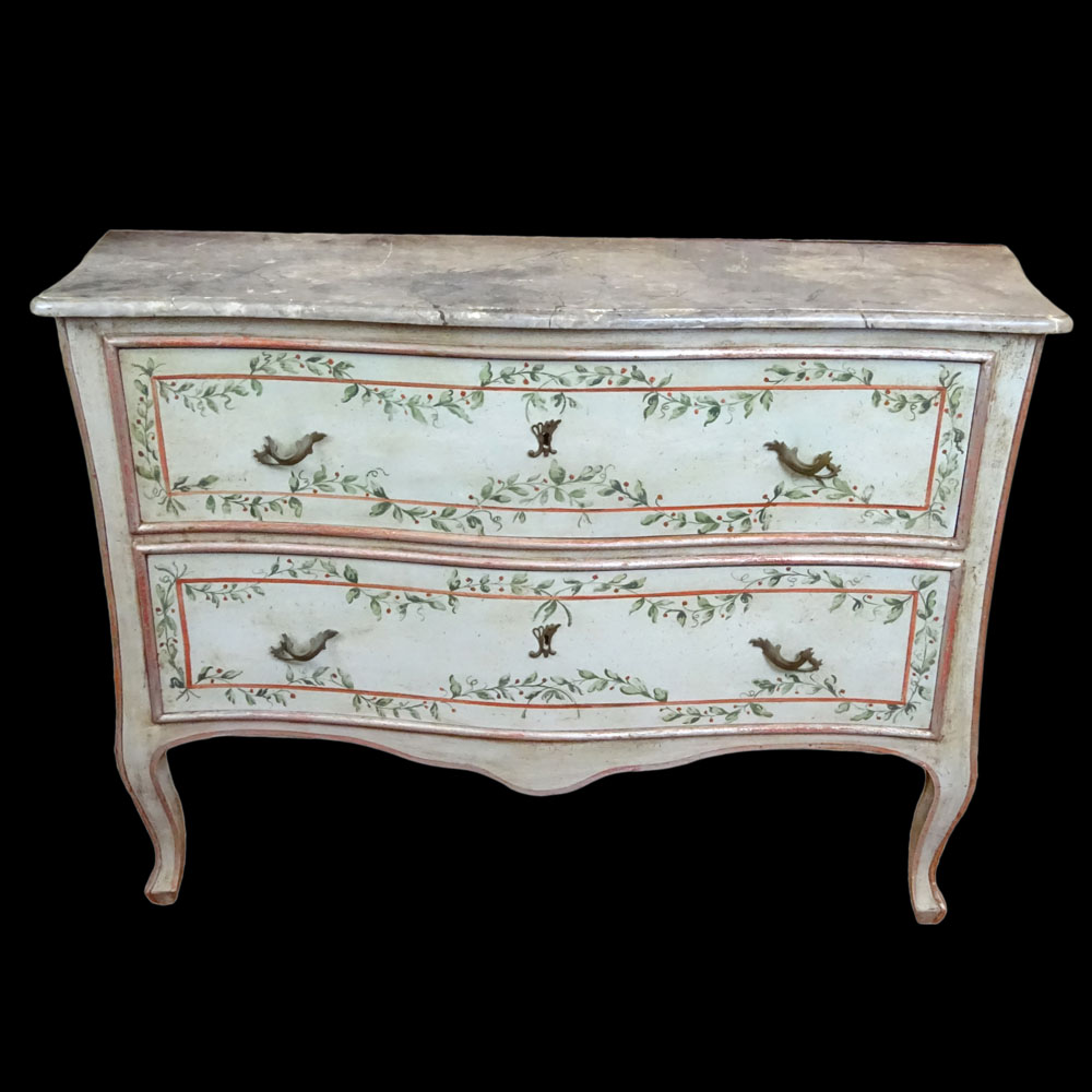 Lot 2 - Mid 20th Century Italian, painted 2 drawer commode with faux marble painted top. Unsigned. Minor