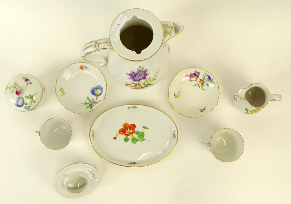 "Meissen Hand Painted Porcelain Partial Tea/Coffee Service. Includes: Pot, 9-1/2""; covered sugar, - Image 3 of 5"