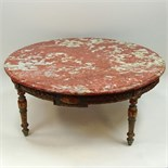 19/20th Century carved painted parcel gilt wood coffee table with marble top. Unsigned. Rubbing,