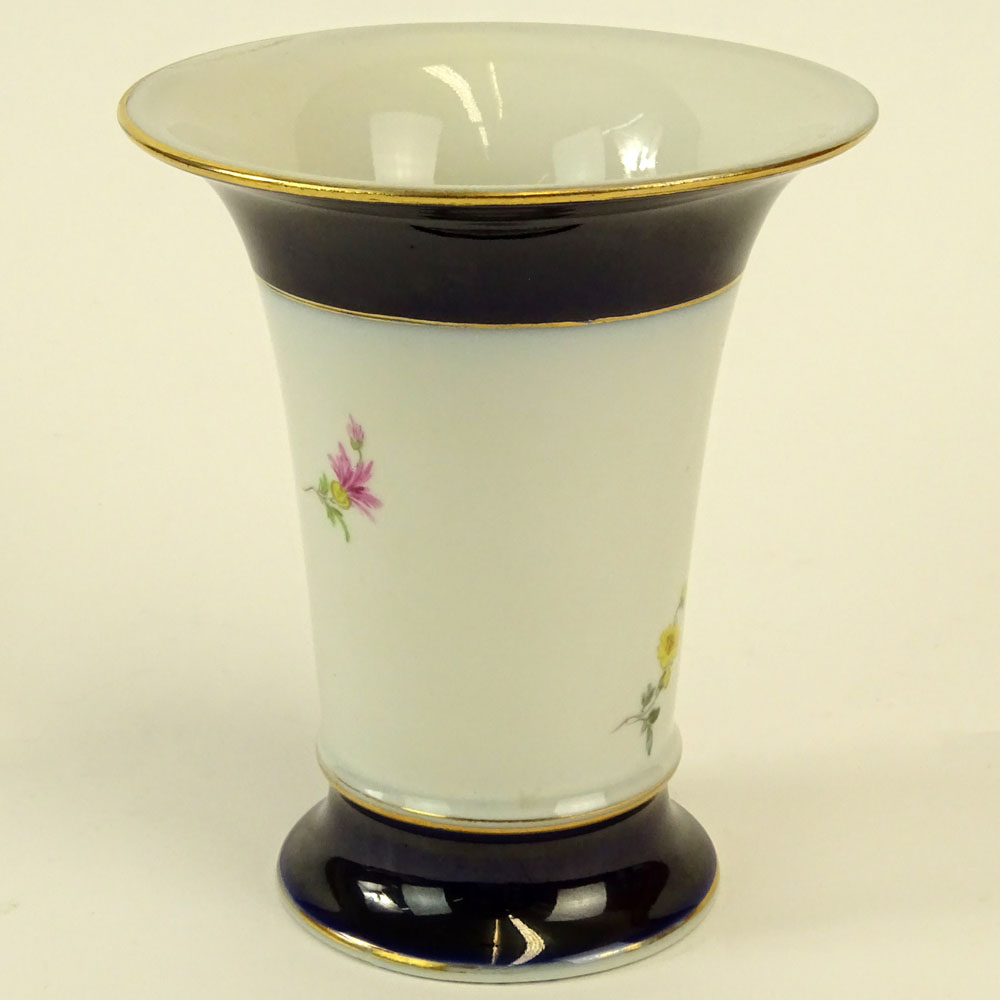 "Meissen Hand Painted Porcelain Vase. Signed with crossed swords. Good condition. Measures 5-1/4"" - Image 4 of 6"