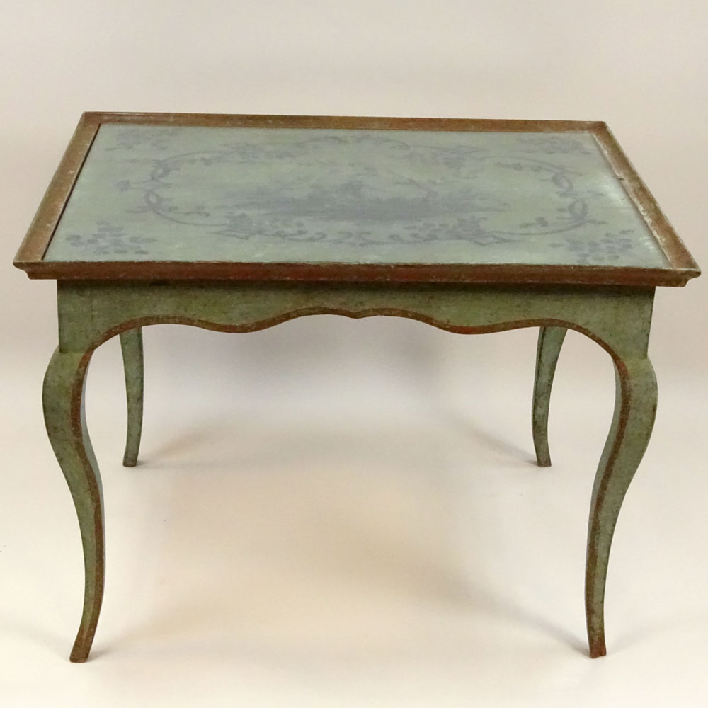 Lot 3 - Antique French Louis XV Style Painted Tea Height Table with Chinoiserie style painted top. Unsigned.