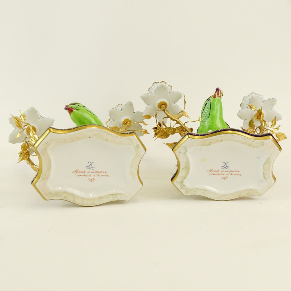 Pair of 20th Century Sevres Ormolu Bronze and Porcelain Figural Bird 2 Light Candelabra. Signed with - Image 6 of 7