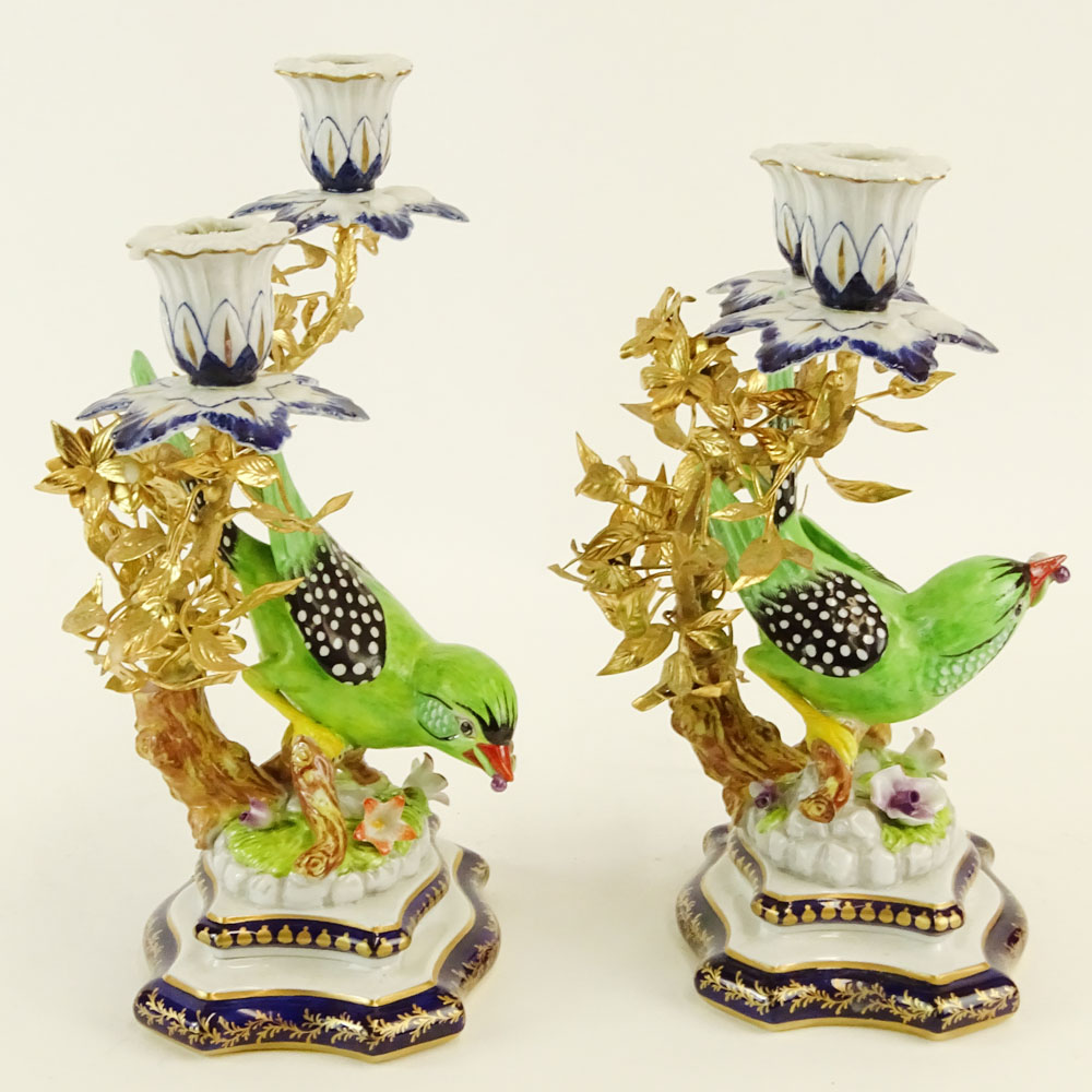 Lot 45 - Pair of 20th Century Sevres Ormolu Bronze and Porcelain Figural Bird 2 Light Candelabra. Signed with