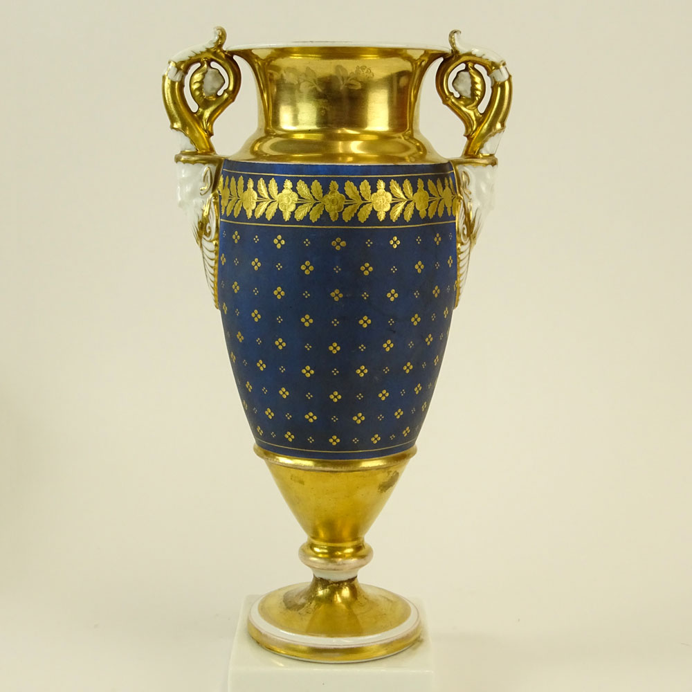 Antique Old Paris Hand Painted and Parcel Gilt Figural Handled Bolted Urn. Unsigned. Light wear or - Image 2 of 5