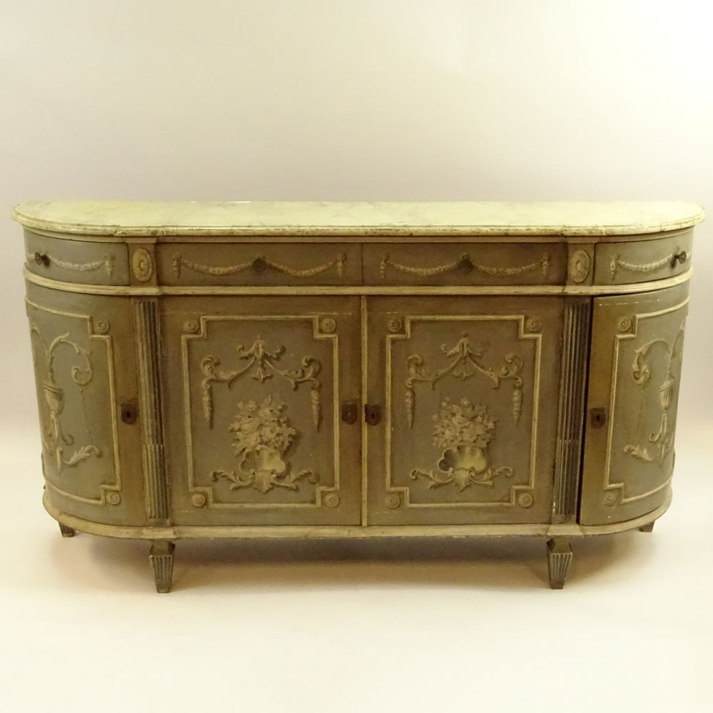 Lot 26 - 19th Century Italian distressed painted buffet sideboard. Unsigned. Rubbing and surface wear,