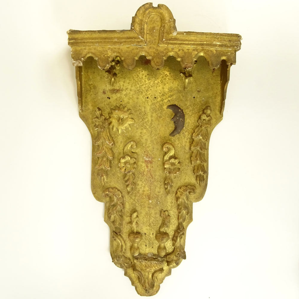 Lot 20 - Antique Florentine Parcel Gilt Wood Decorative Wall Bracket. Unsigned. Losses, wear, nail holes.