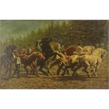 "Large Possibly South American 19/20th Century Oil on Canvas. ""Horse Riders"" Signed lower Right A."
