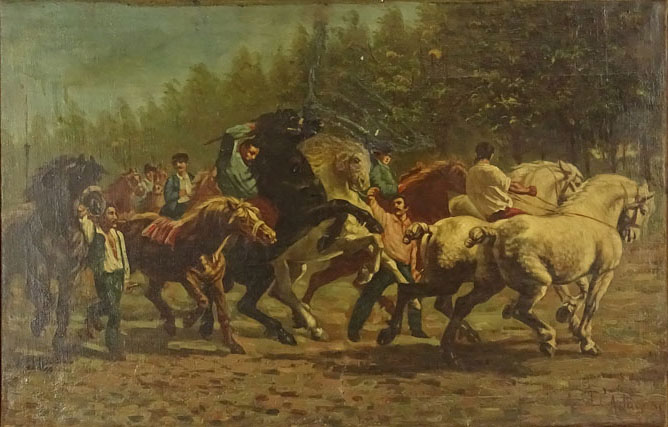 """Lot 57 - Large Possibly South American 19/20th Century Oil on Canvas. """"Horse Riders"""" Signed lower Right A."""
