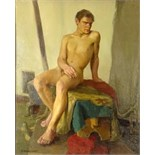 "attributed to: Petr Petrovich Konchalovsky, Russian/Ukranian (1876-1956) Oil on canvas ""Male Nude"""