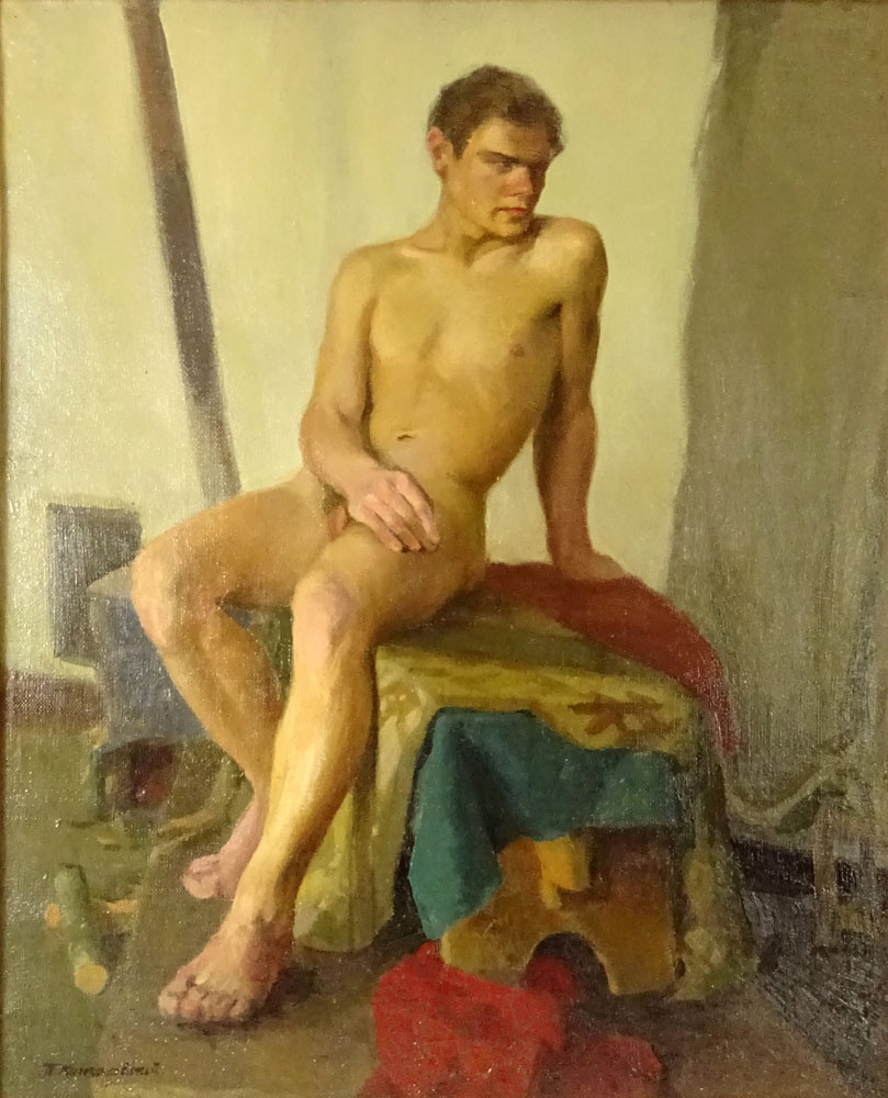 "Lot 54 - attributed to: Petr Petrovich Konchalovsky, Russian/Ukranian (1876-1956) Oil on canvas ""Male Nude"""