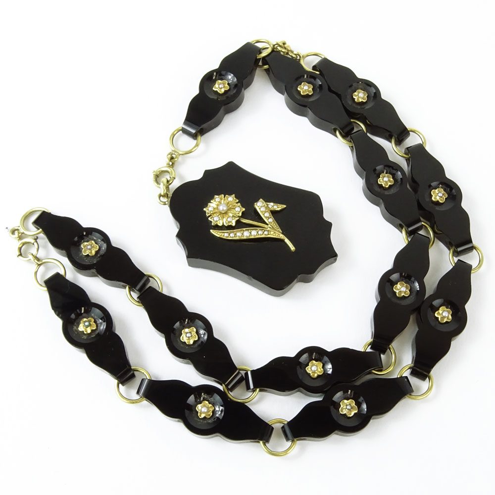 Lot 31A - Circa 1890 Victorian 14 Karat Yellow Gold. Black Onyx and Seed Pearl Pendant Necklace. Unsigned.