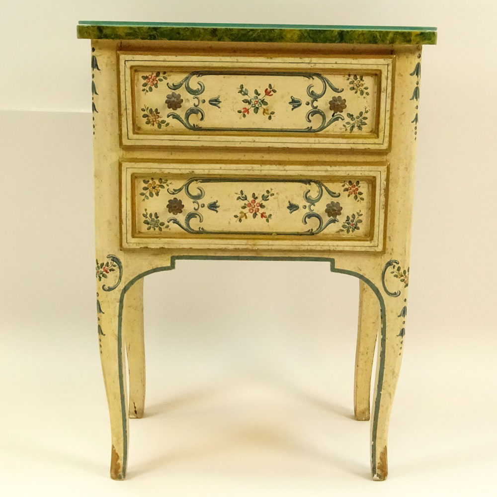 Mid 20th Century Probably Italian Painted and Parcel Gilt 2 drawer small commode with faux marble - Image 2 of 3