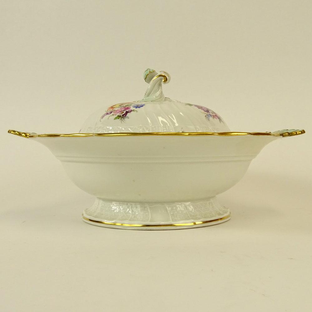 Meissen Hand painted Porcelain Covered EntrŽe Serving Bowl. Signed with double slashed crossed sword - Image 2 of 5