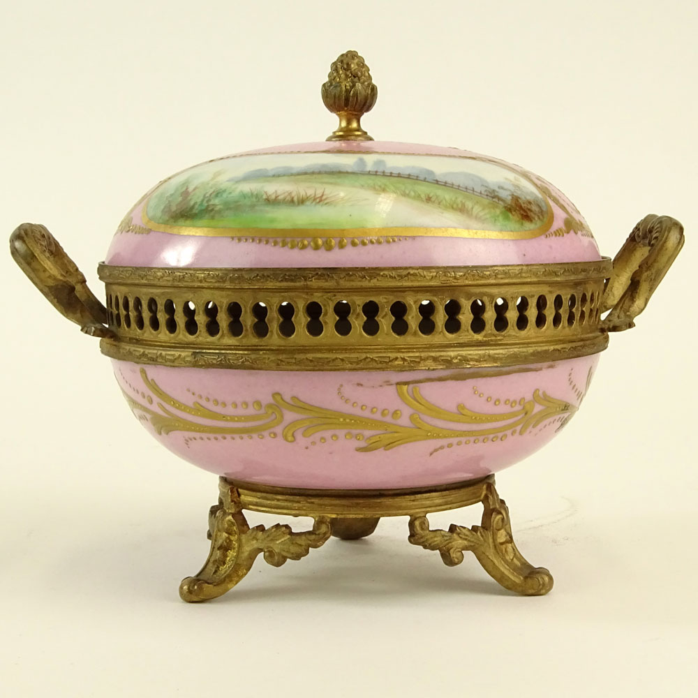 Sevres Bronze Mounted Hand Painted Covered Porcelain Box. Marked on bottom. Light wear or in good - Image 2 of 7