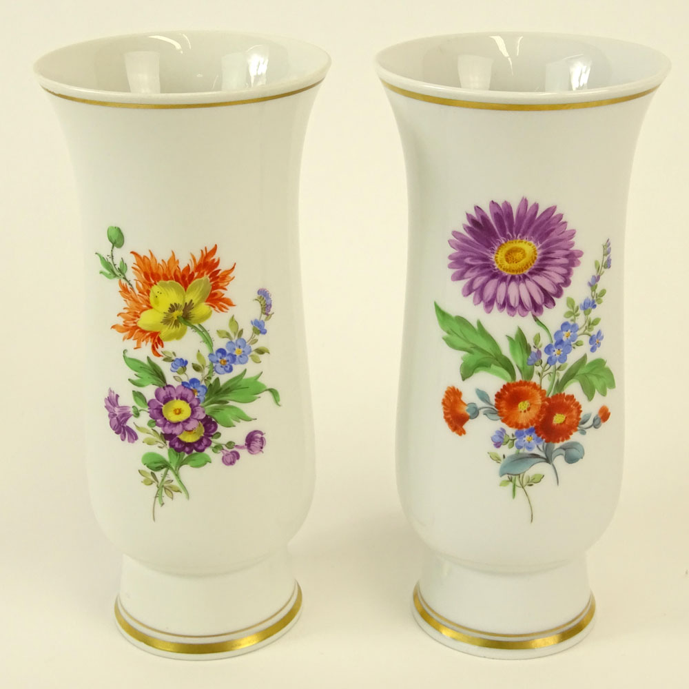 Lot 34 - Pair of Meissen Hand Painted Porcelain Vase. Floral motif. Signed with crossed swords marks. Good