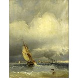 "after: Ivan Konstantinovich Aivazovsky, Russian (1817-1900) oil on canvas, ""Sailing to Harbor""."