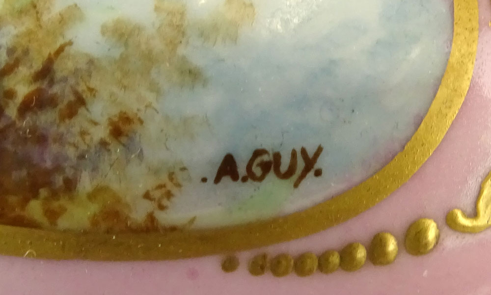 Sevres Bronze Mounted Hand Painted Covered Porcelain Box. Marked on bottom. Light wear or in good - Image 6 of 7