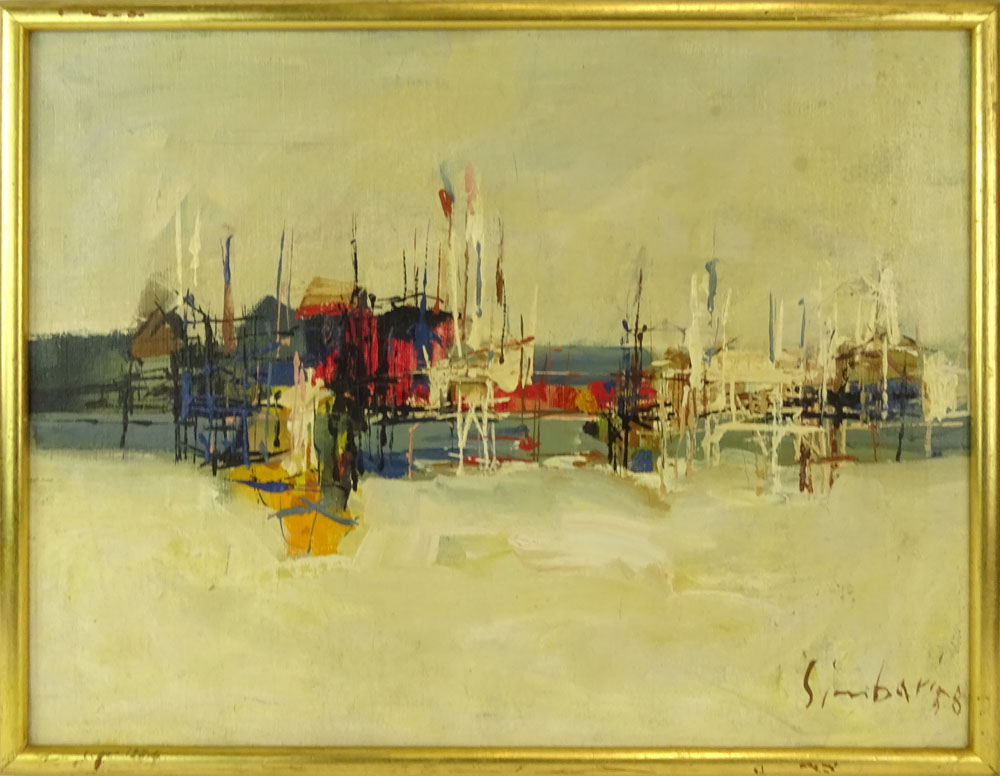 """Nicola Simbari, Italian (1927-2012) Oil on canvas """"Untitled"""" Signed and dated '58 lower right. - Image 2 of 5"""