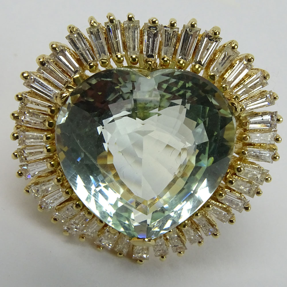 Vintage Approx. 25.0 Carat Heart Shape Aquamarine, 2.5 Carat Baguette Diamond and 14K Yellow Gold - Image 6 of 6