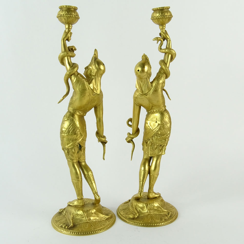 Lot 9 - Pair of 19/20th Century French Egyptian Revival Gilt Bronze Figural Candlesticks. Unsigned. Good