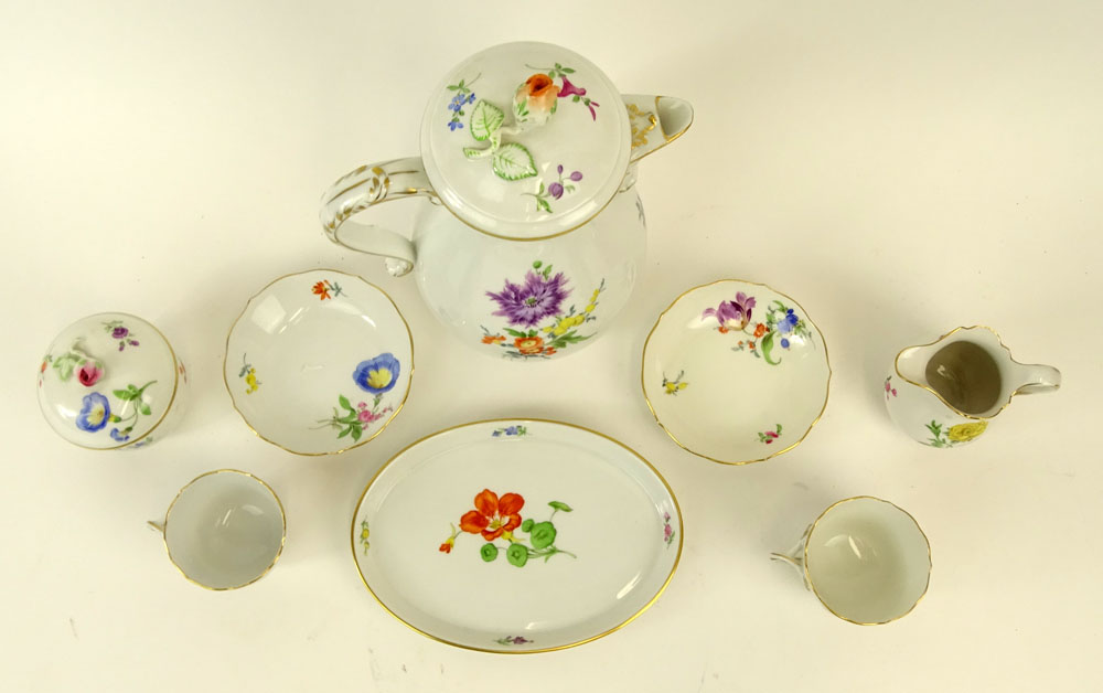 "Meissen Hand Painted Porcelain Partial Tea/Coffee Service. Includes: Pot, 9-1/2""; covered sugar, - Image 2 of 5"