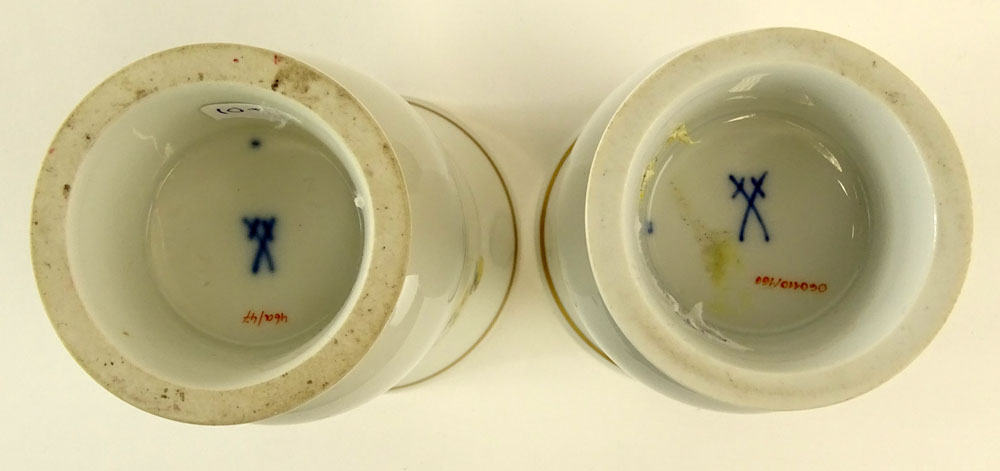 Pair of Meissen Hand Painted Porcelain Vase. Floral motif. Signed with crossed swords marks. Good - Image 5 of 7