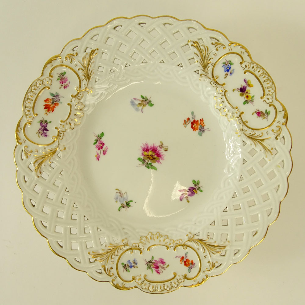 Lot 33 - Meissen Hand Painted Reticulated Porcelain Compote. Signed on both plate and base with crossed