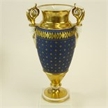 Antique Old Paris Hand Painted and Parcel Gilt Figural Handled Bolted Urn. Unsigned. Light wear or