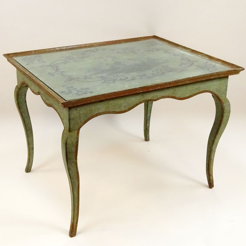 Antique French Louis XV Style Painted Tea Height Table with Chinoiserie style painted top. Unsigned.