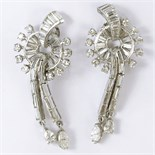 Pair of Circa 1920's Art Deco Approx. 4.0 Carat Diamond and Platinum Earrings. Diamonds E-F color,