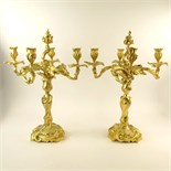 Pair 20th Century gilt bronze rococo 4 light candelabra. Unsigned. Small crack to one arm