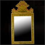 19/20th Century Italian carved, painted and parcel gilt Chinoiserie Style mirror. Unsigned. Age