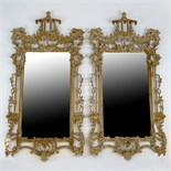 Pair of 20th Century Carved and distress painted Chinoiserie style mirrors. Unsigned. Overall good