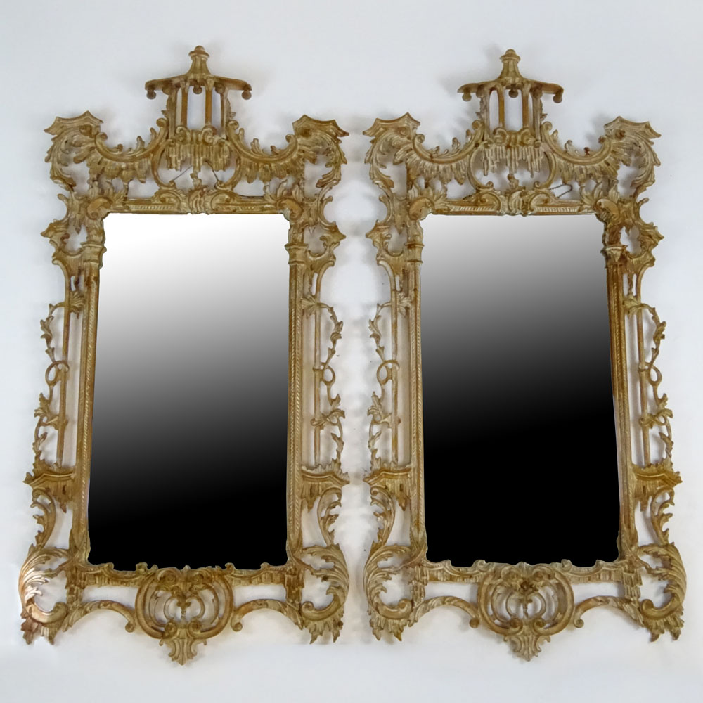 Lot 28 - Pair of 20th Century Carved and distress painted Chinoiserie style mirrors. Unsigned. Overall good