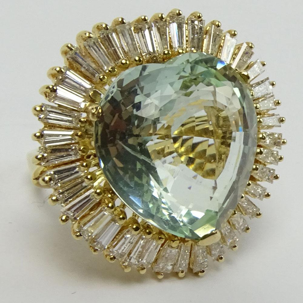 Lot 31B - Vintage Approx. 25.0 Carat Heart Shape Aquamarine, 2.5 Carat Baguette Diamond and 14K Yellow Gold