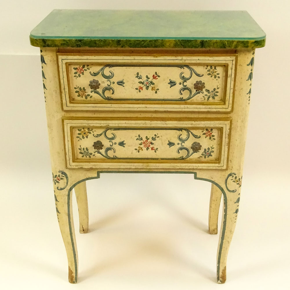Lot 5 - Mid 20th Century Probably Italian Painted and Parcel Gilt 2 drawer small commode with faux marble