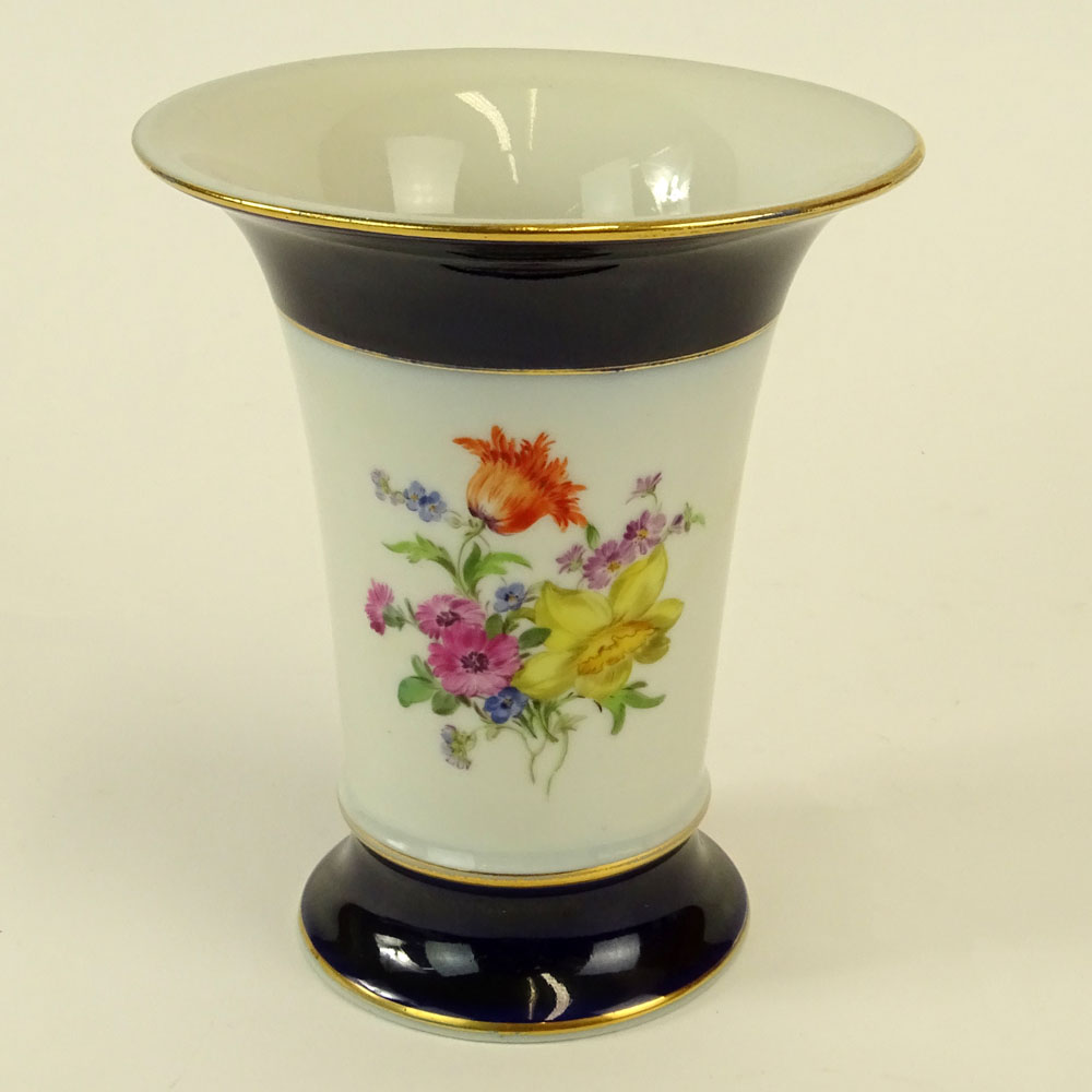 Meissen Hand Painted Porcelain Vase. Signed with crossed swords. Good condition. Measures 5-1/4""