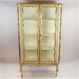 Early Mid 20th Century Probably Italian Painted and Parcel Gilt Vitrine. Unsigned. Small crack to