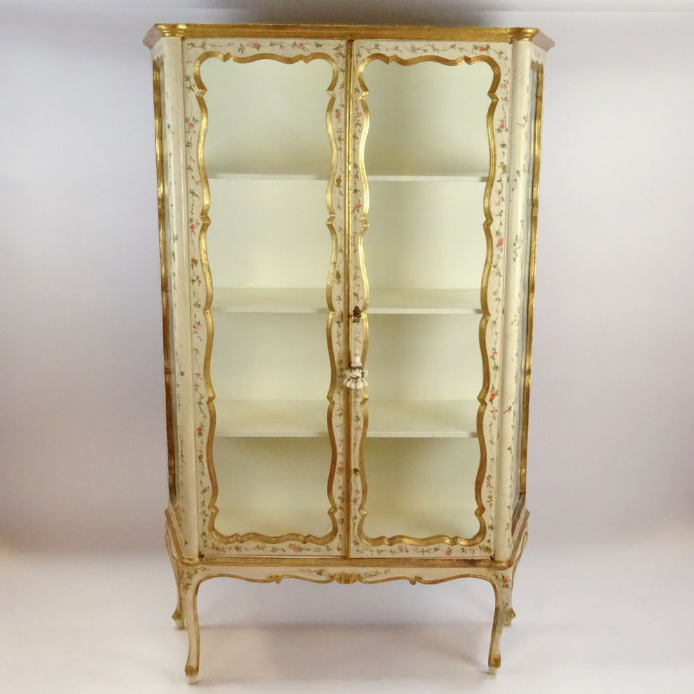 Lot 4 - Early Mid 20th Century Probably Italian Painted and Parcel Gilt Vitrine. Unsigned. Small crack to