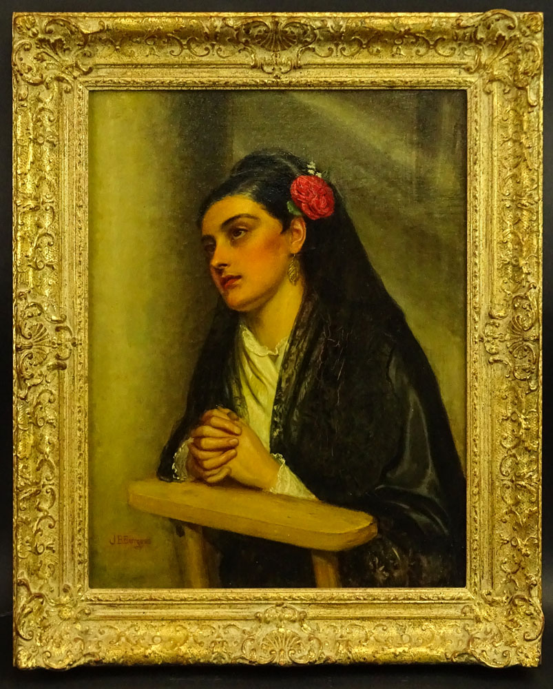 "John Bagnold Burgess, British (1830-1897) Oil on canvas ""At Prayer"" Signed lower left JB Burgess. - Image 2 of 4"