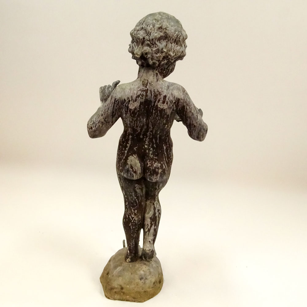 Early 20th Century Iron Figural Standing Putto holding Shell Fountain. Unsigned. Distressed - Image 4 of 6