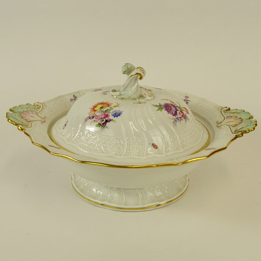 Meissen Hand painted Porcelain Covered EntrŽe Serving Bowl. Signed with double slashed crossed sword