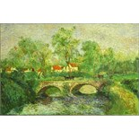 "after: Camille Pissarro, French (1830-1903) oil on canvas, ""Stone Bridge"". Signed lower right. Two"