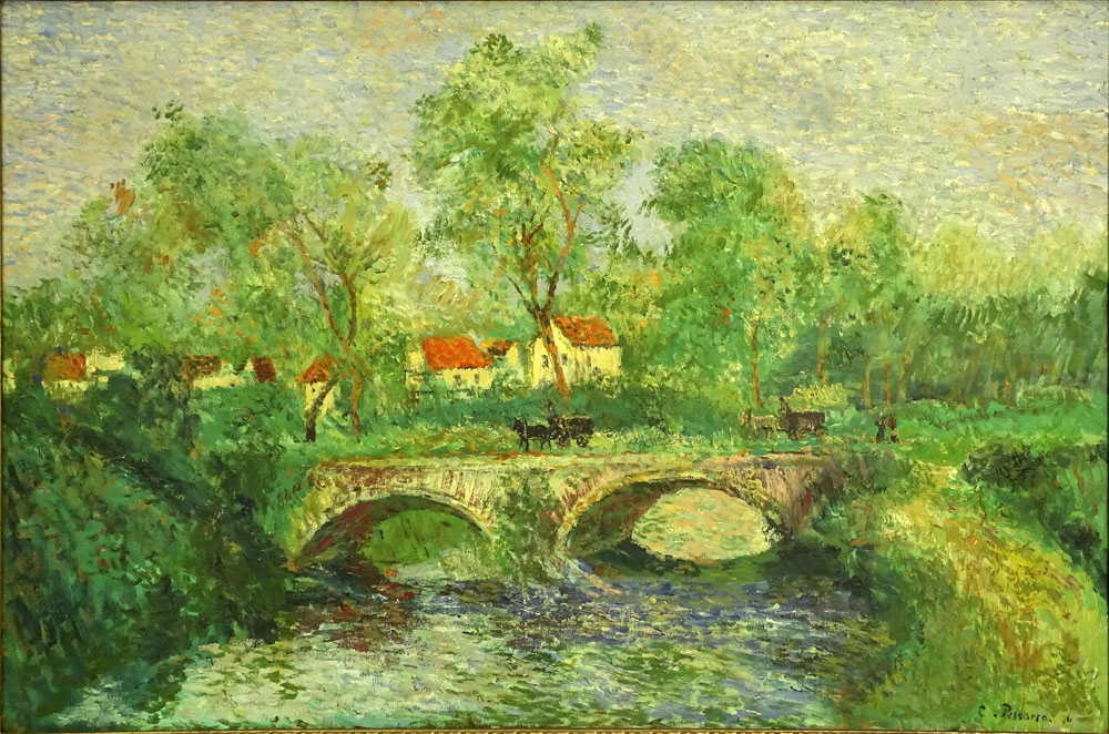 """after: Camille Pissarro, French (1830-1903) oil on canvas, """"Stone Bridge"""". Signed lower right. Two"""