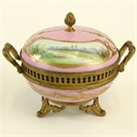 Sevres Bronze Mounted Hand Painted Covered Porcelain Box. Marked on bottom. Light wear or in good
