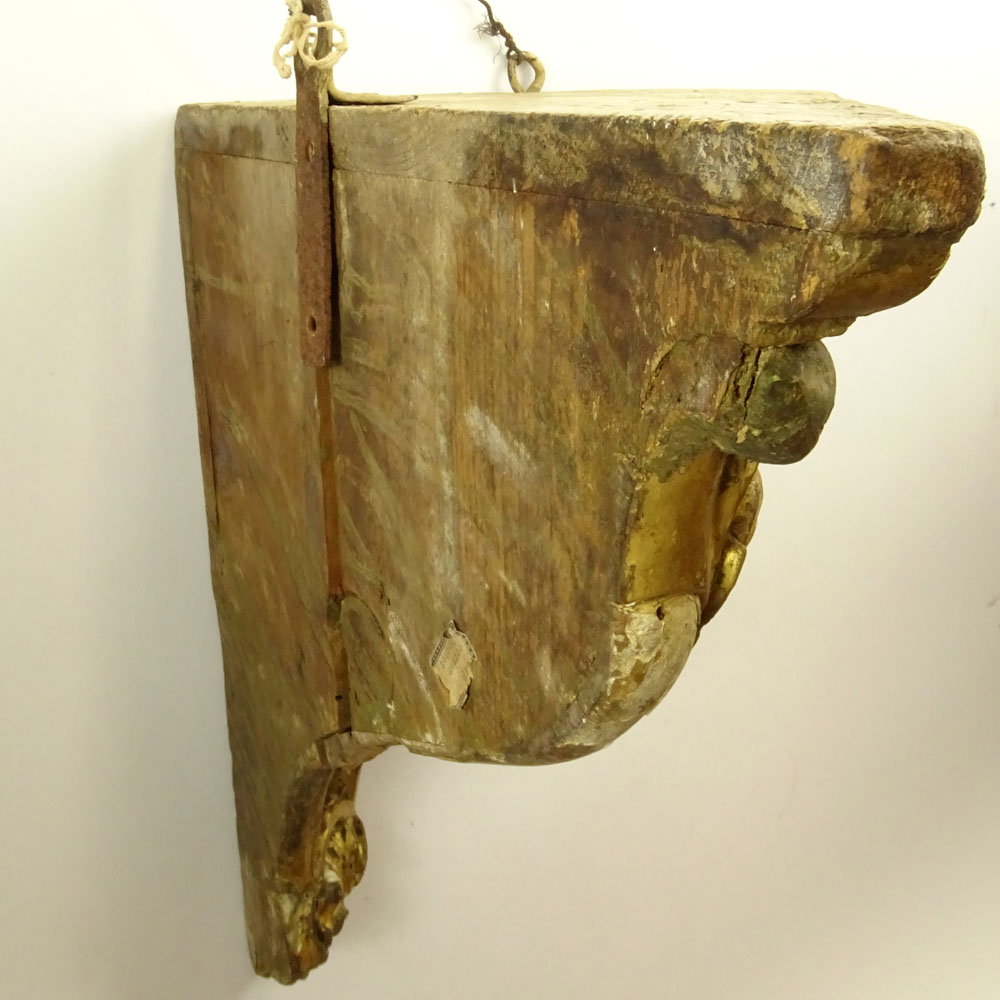 19/20th Century Probably Italian Carved Parcel Gilt Wood Wall Bracket. Unsigned. Losses, wear, age - Image 5 of 6