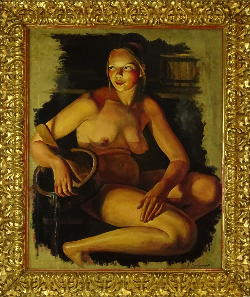 """Lot 53 - Russian oil painting on canvas in frame bearing signature Z. Serebriakova. """"Nude In Sauna"""" Good"""