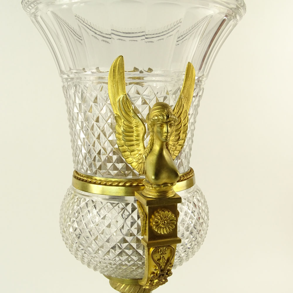 Lot 12 - Large Early 20th Century French Possibly Baccarat Gilt Bronze Mounted Cut Crystal Urn. Unsigned.