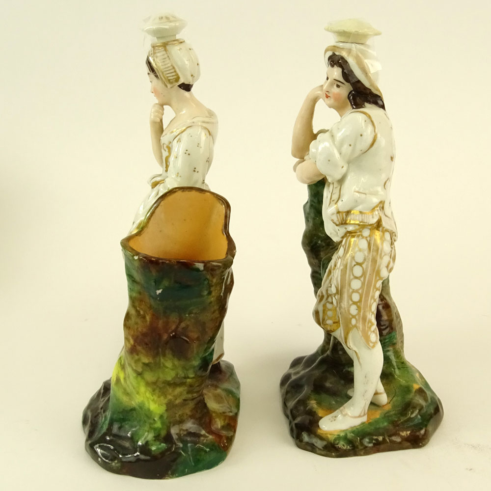 Lot 32 - Pair of Jacob Petit Porcelain Figural Scent Bottles. Male and female form. Signed JP on bottom. Both