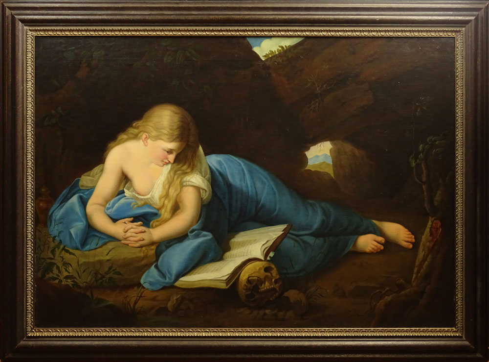 "Lot 56 - Antique Continental Oil on Canvas ""The Penitent Magdalen"" Unsigned. Good Relined Condition. Measures"